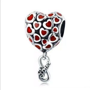 NEW•Silver 3-D Heart w/Infinity dangle DIY charm